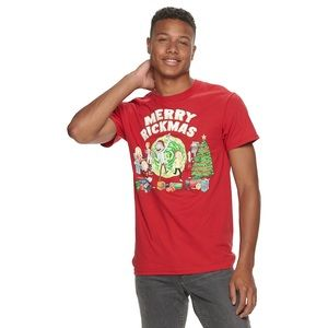 Rick and Morty Merry Rickmas Red Tee Mens XL NWT